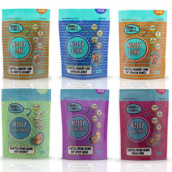 Noisy Snacks - 45g Pouch | Noisy Chickpeas Black Pepper and Berry Pouch